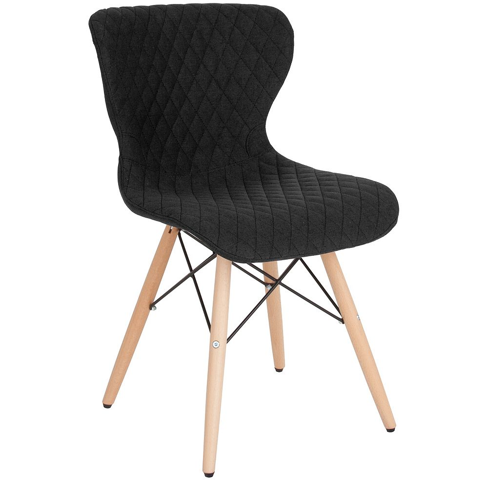 Flash Furniture Riverside Contemporary Upholstered Chair with Wooden Legs in Black Fabric