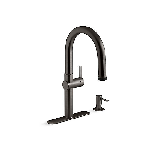 Rune Pull-Down Kitchen Faucet with Soap/Lotion Dispenser in Black Stainless
