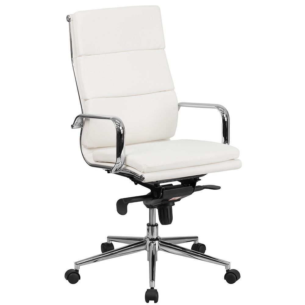 Flash Furniture High Back White Leather Executive Swivel Chair with Synchro-Tilt Mechanism and Arms