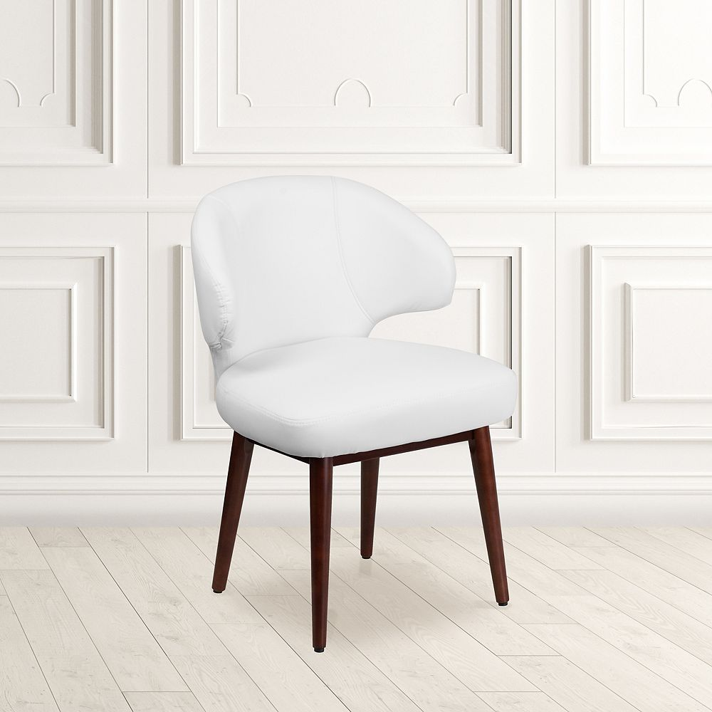Flash Furniture Comfort Back Series White Leather Side Reception Chair with Walnut Legs