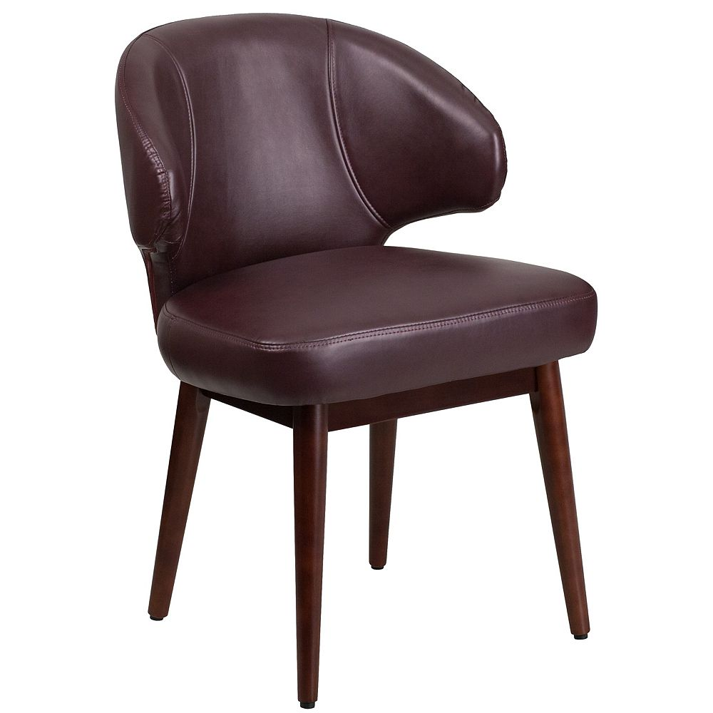 Flash Furniture Comfort Back Series Burgundy Leather Side Reception Chair with Walnut Legs