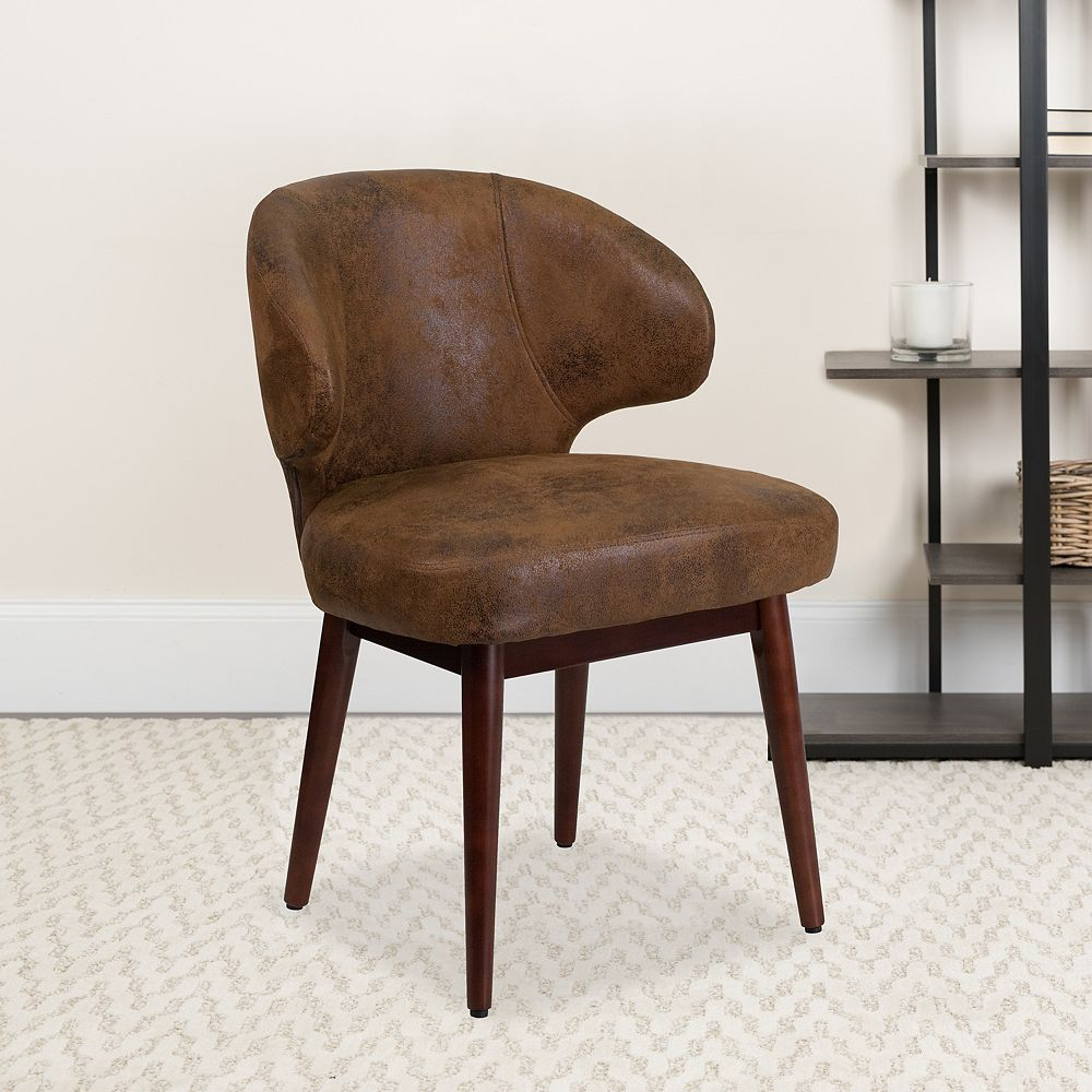 Flash Furniture Comfort Back Series Bomber Jacket Microfiber Side Reception Chair with Walnut Legs
