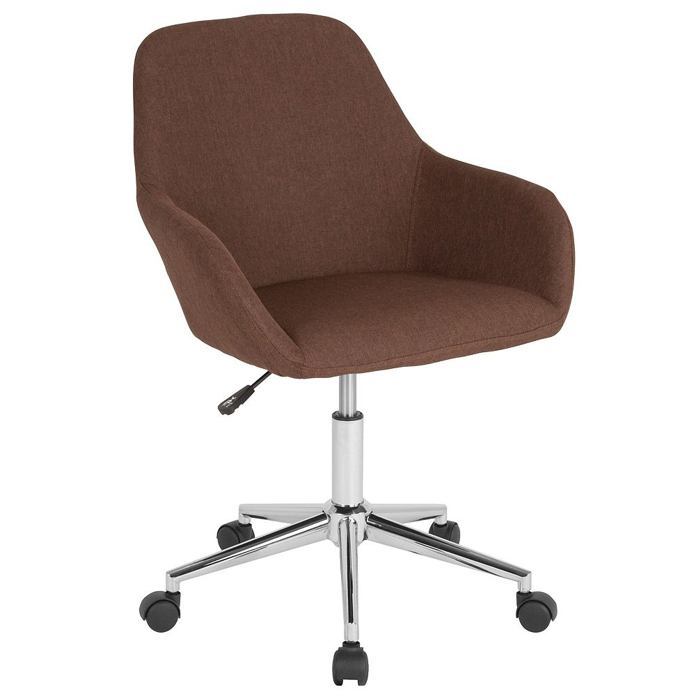 Flash Furniture Cortana Home and Office Mid-Back Chair in Brown Fabric