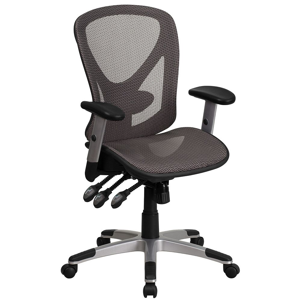 Flash Furniture Mid-Back Transparent Gray Mesh Multifunction Executive Swivel Chair with Adjustable Arms