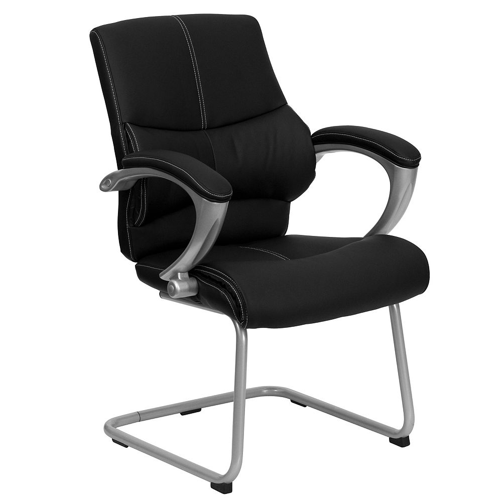 Flash Furniture Black Leather Executive Side Reception Chair with Silver Sled Base