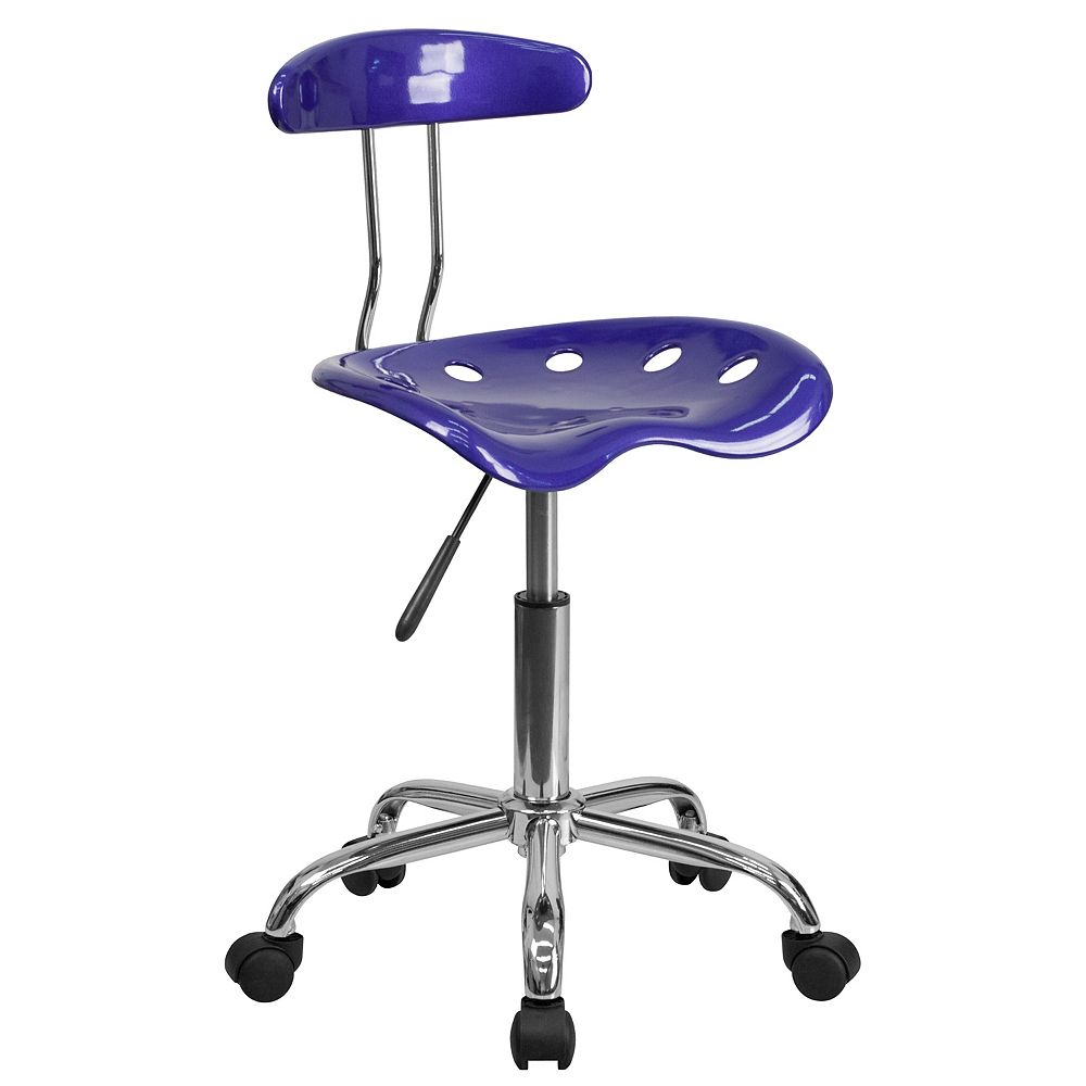 Flash Furniture Vibrant Deep Blue and Chrome Swivel Task Chair with Tractor Seat