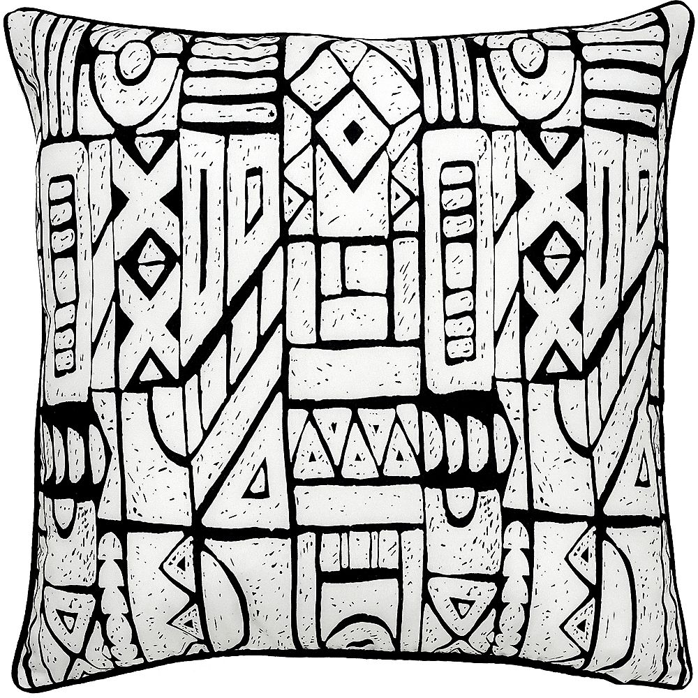 Notre Dame Design Brina Sofa Patio Indoor and Outdoor Pillow in White and Black