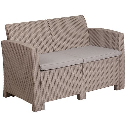 Flash Furniture Light Gray Faux Rattan Loveseat with All-Weather Light Gray Cushions