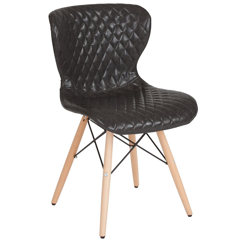Flash Furniture Riverside Contemporary Upholstered Chair with Wooden Legs in Gray Vinyl