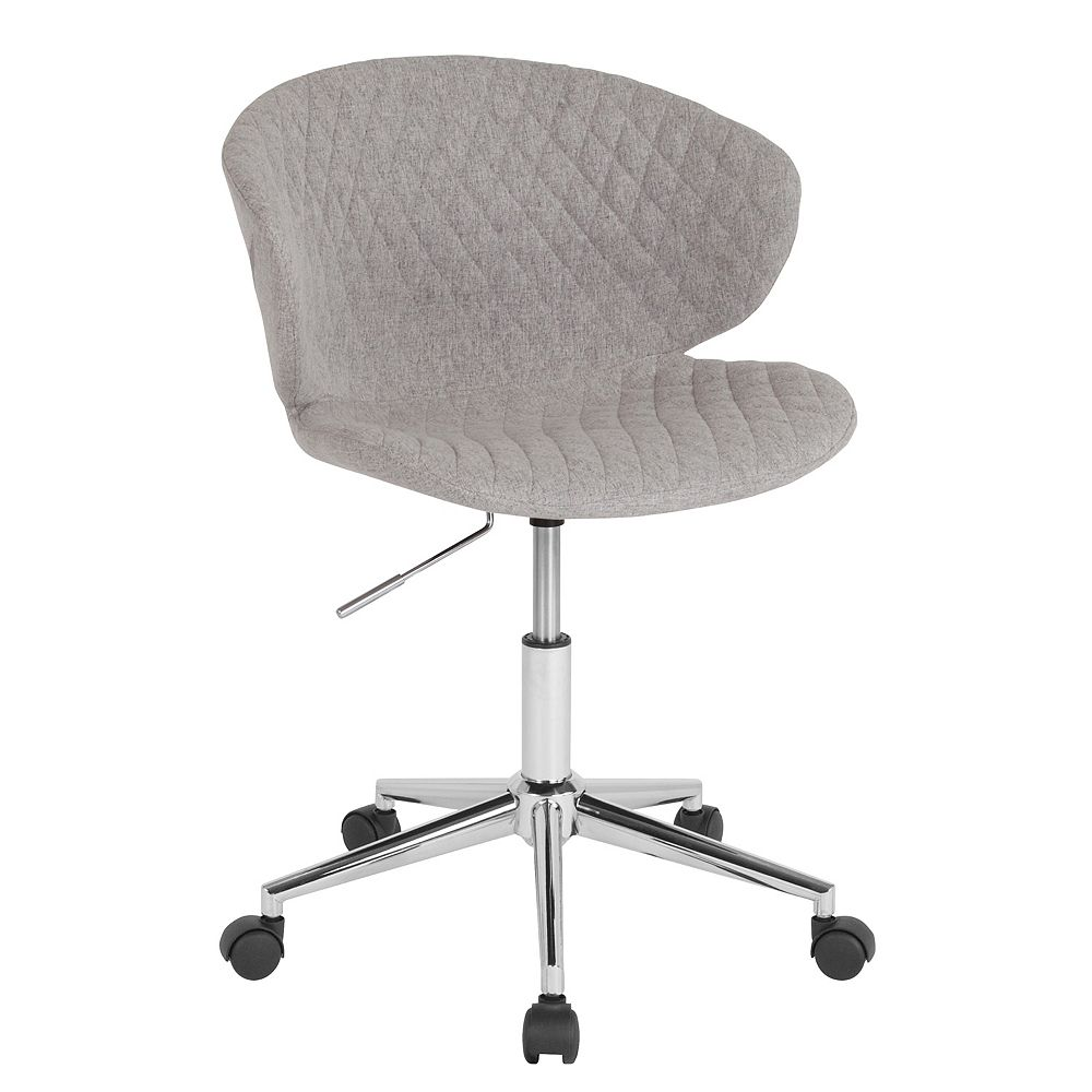 Flash Furniture Cambridge Home and Office Upholstered Low Back Chair in Light Gray Fabric