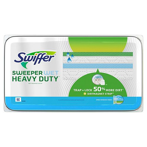 Swiffer Sweeper Heavy Duty Wet Mopping Cloths Multi Surface Refills, Open Window Fresh, 20 count