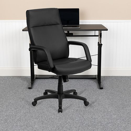 Flash Furniture High Back Black Leather Executive Swivel Ergonomic Office Chair with Memory Foam Padding and Arms