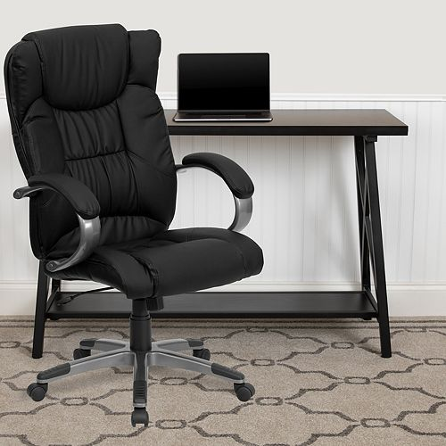 Flash Furniture High Back Black Leather Executive Swivel Office Chair with Titanium Nylon Base and Loop Arms