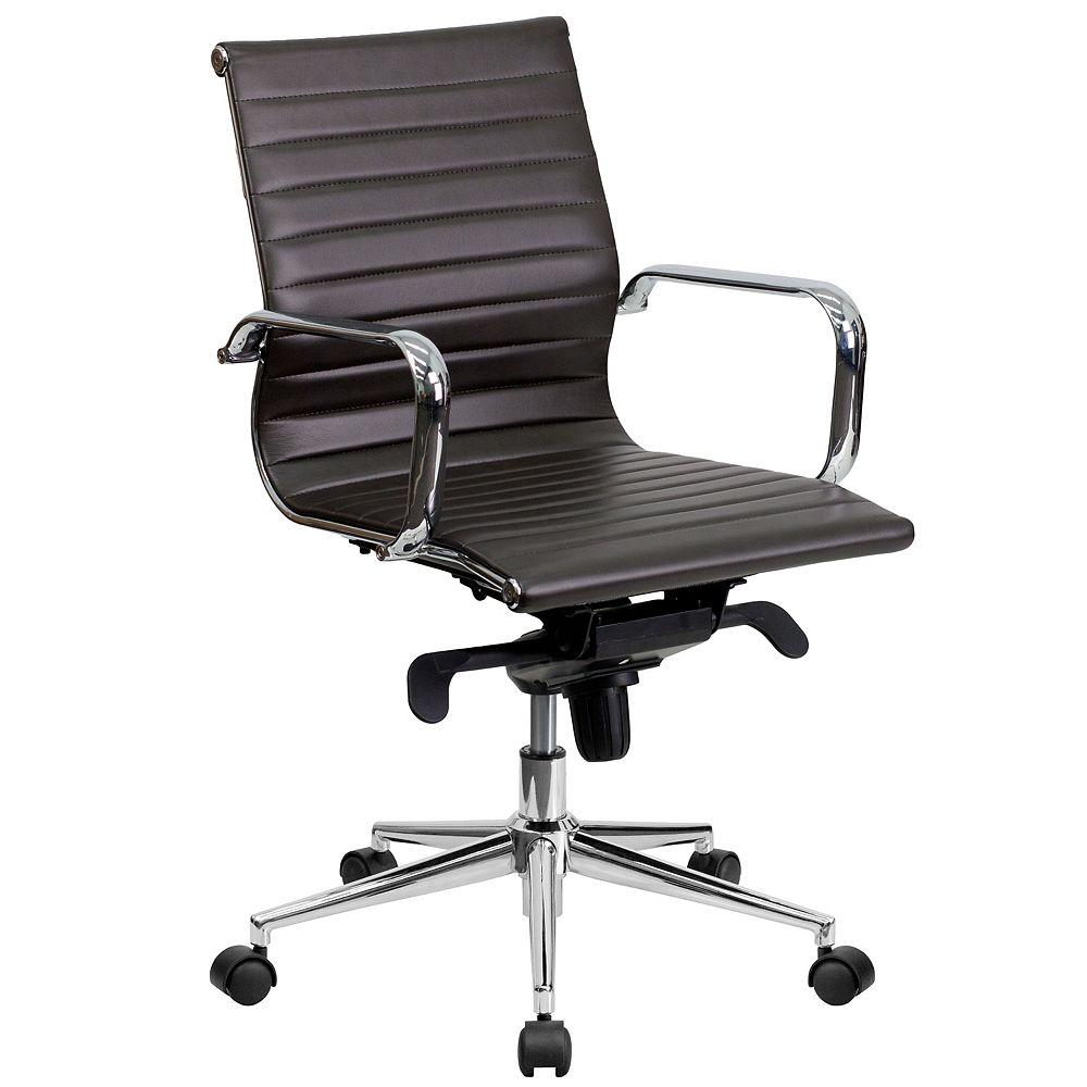 Flash Furniture Chaise à dossier mi-hauteur en cuir brun