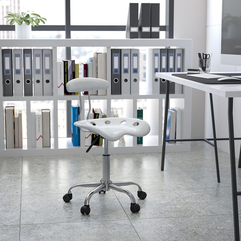 Flash Furniture Chaise de travail pivotante argentée vibrante et chromée avec siège de tracteur