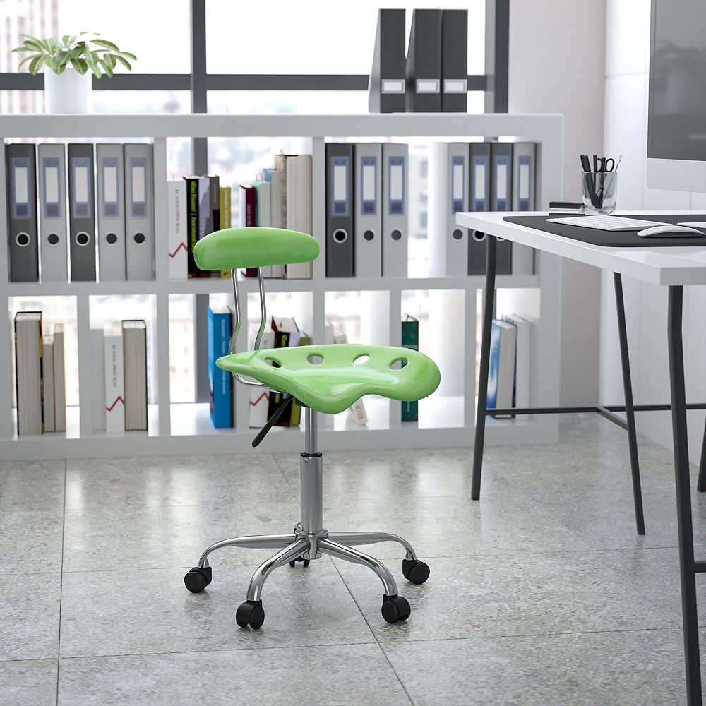 Flash Furniture Chaise de travail pivotante en chrome et couleur citron vert épicé vibrante avec siège tracteur