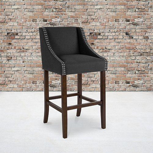 "30"" Charcoal Fabric/Wood Stool"