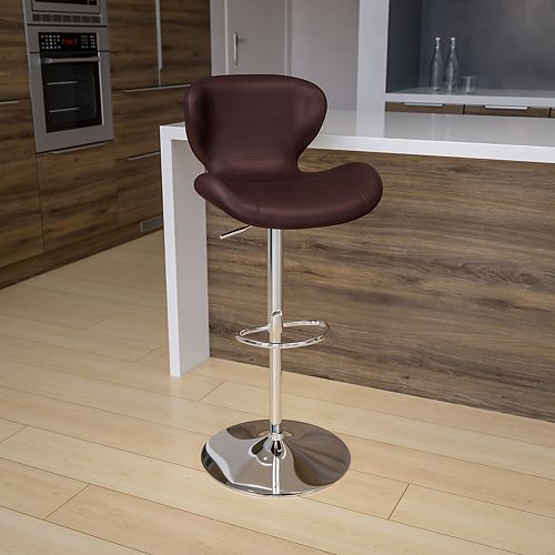 Contemporary Brown Vinyl Adjustable Height Barstool with Curved Back and Chrome Base