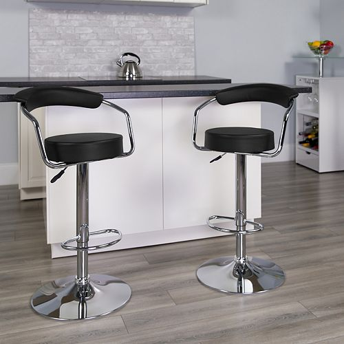 Flash Furniture Contemporary Black Vinyl Adjustable Height Barstool with Arms and Chrome Base