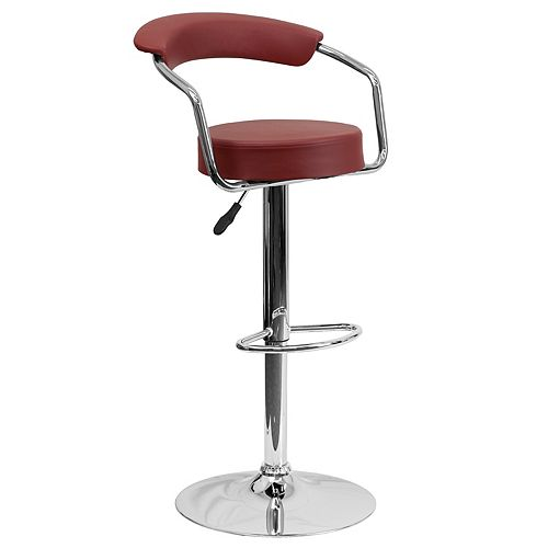 Flash Furniture Contemporary Burgundy Vinyl Adjustable Height Barstool with Arms and Chrome Base