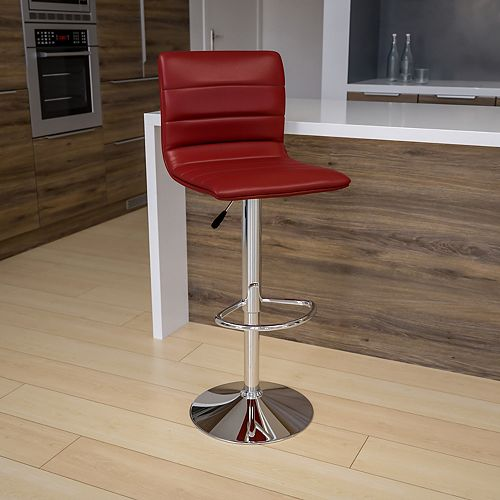 Contemporary Burgundy Vinyl Adjustable Height Barstool with Horizontal Stitch Back and Chrome Base