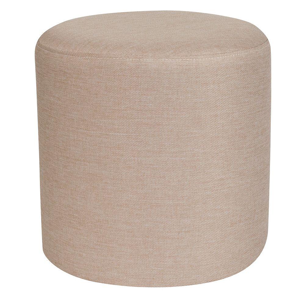 Flash Furniture Pouf Barrington rond rembourré en tissu beige