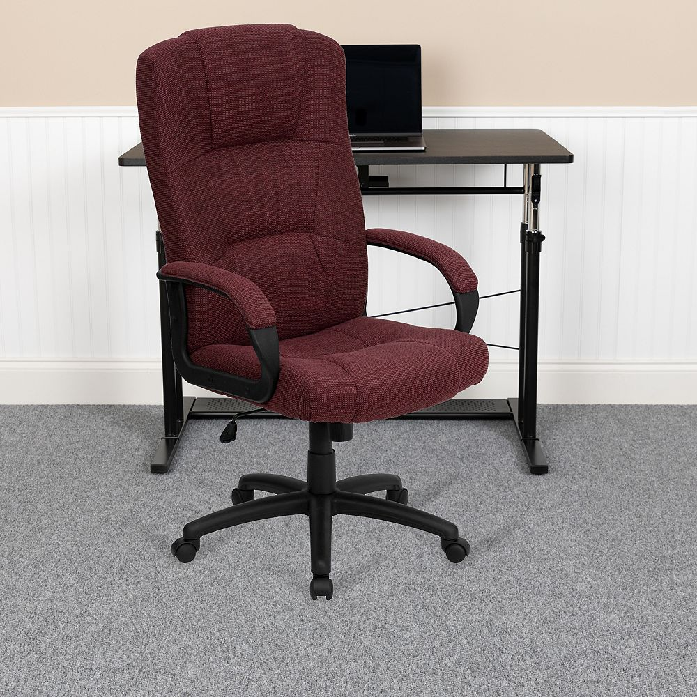 Flash Furniture High Back Burgundy Fabric Executive Swivel Chair with Arms