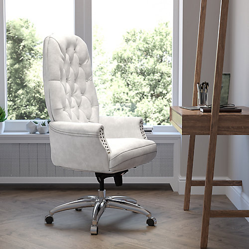 High Back Traditional Tufted White Leather Multifunction Executive Swivel Chair with Arms