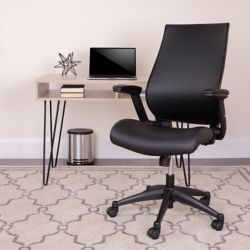 Flash Furniture High Back Black Leather Executive Swivel Office Chair with Molded Foam Seat and Adjustable Arms