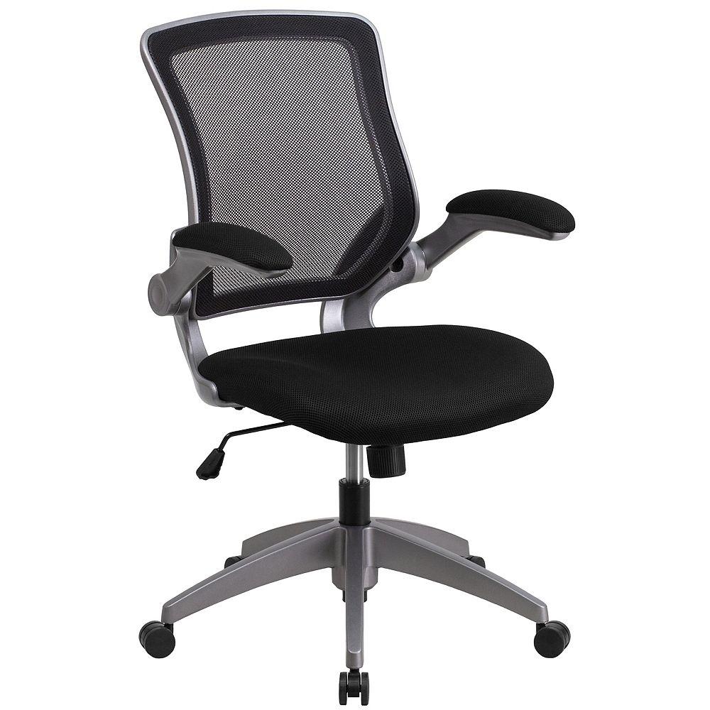 Flash Furniture Chaise de travail noire à dossier mi-hauteur