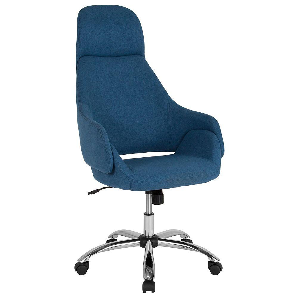 Flash Furniture Chaise Marbella de bureau et de maison rembourrée à dossier haut en tissu bleu
