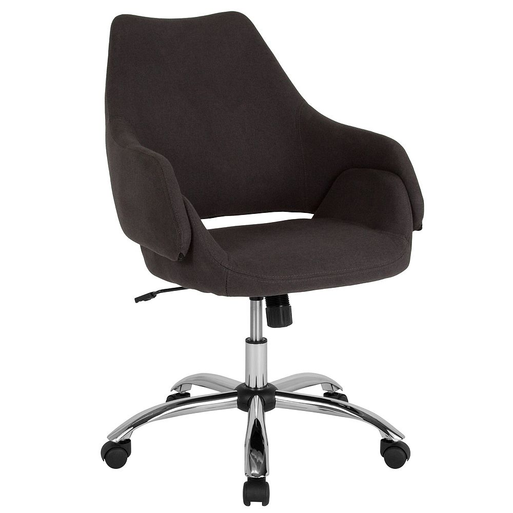Flash Furniture Madrid Home and Office Upholstered Mid-Back Chair in Black Fabric