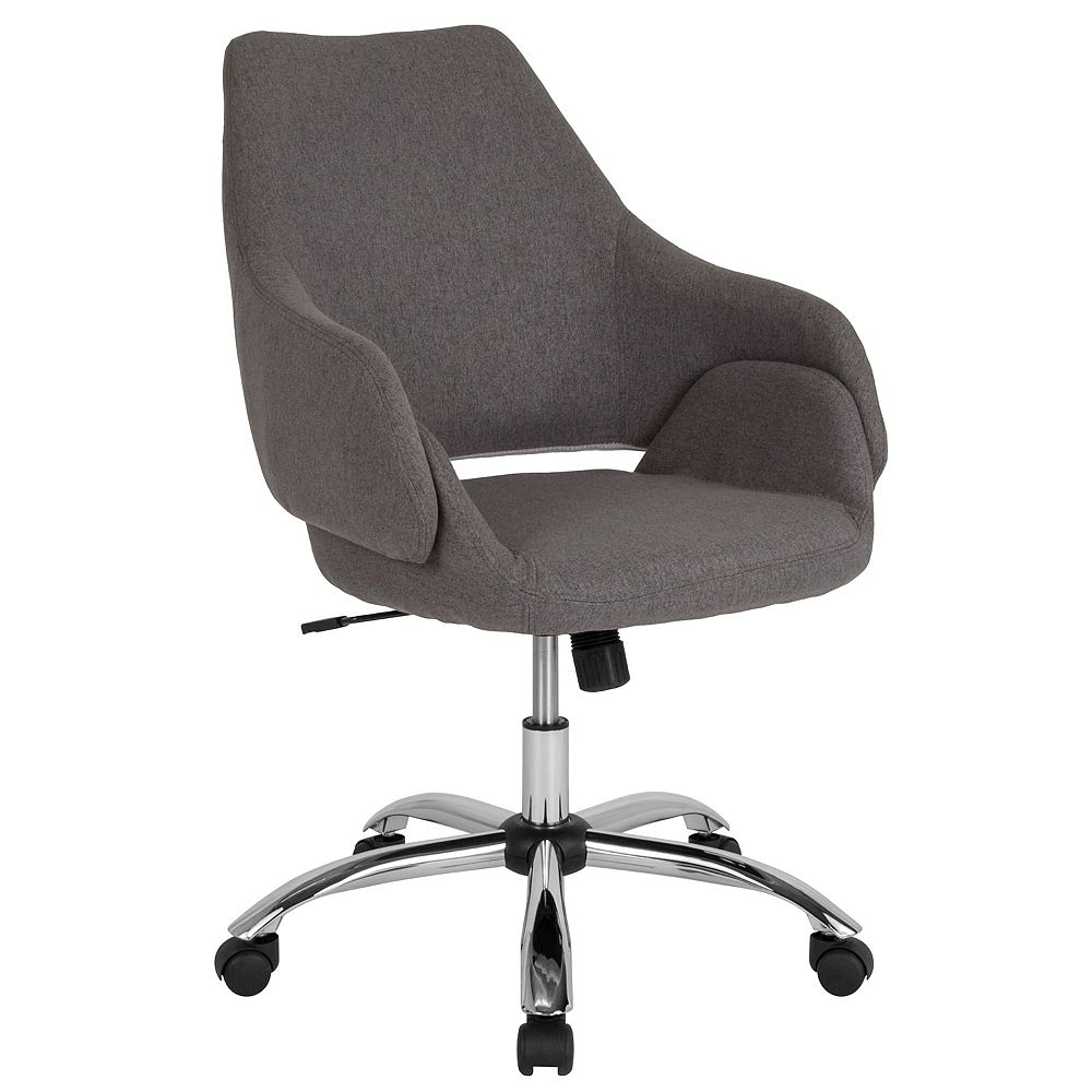 Flash Furniture Madrid Home and Office Upholstered Mid-Back Chair in Dark Gray Fabric
