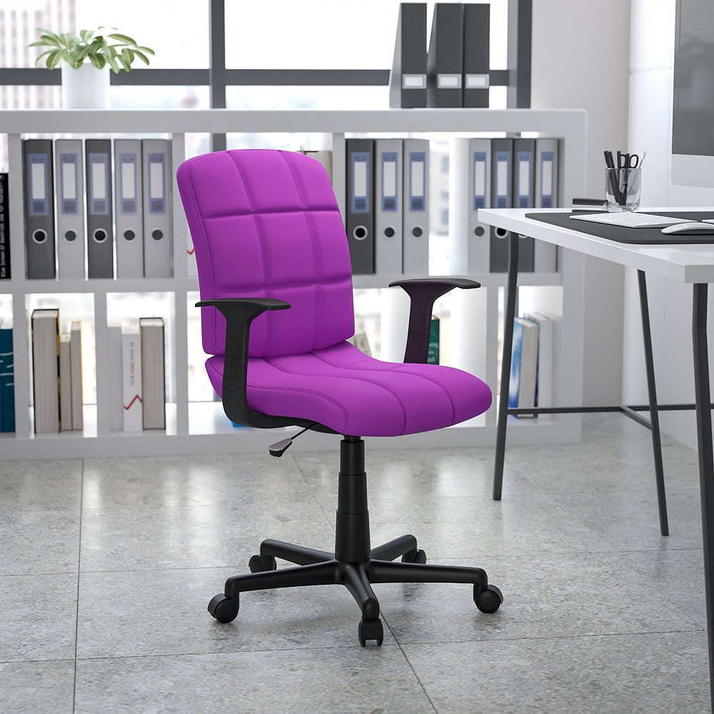 Flash Furniture Mid Back Purple Quilted Vinyl Swivel Task Chair With Arms The Home Depot Canada