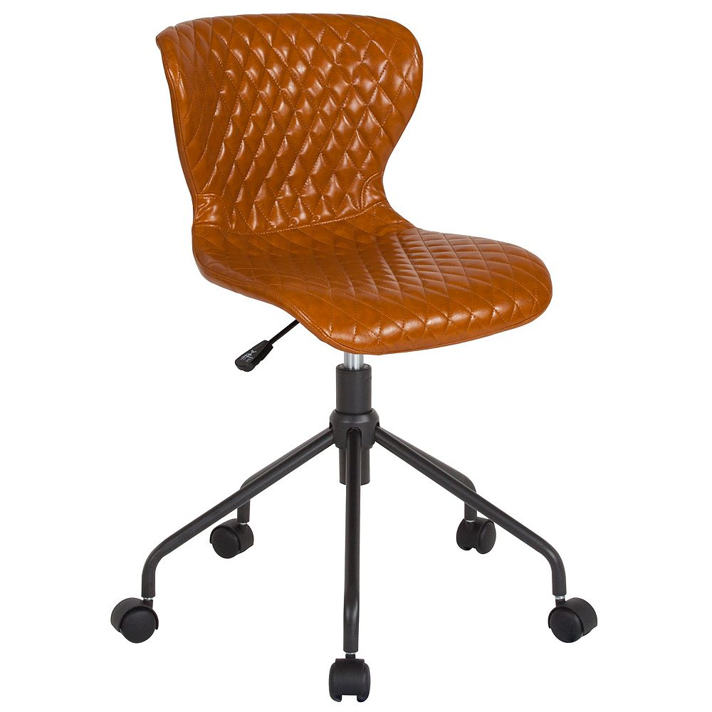 Flash Furniture Chaise de travail Somerset pour la maison et le bureau rembourrée en vinyle selle