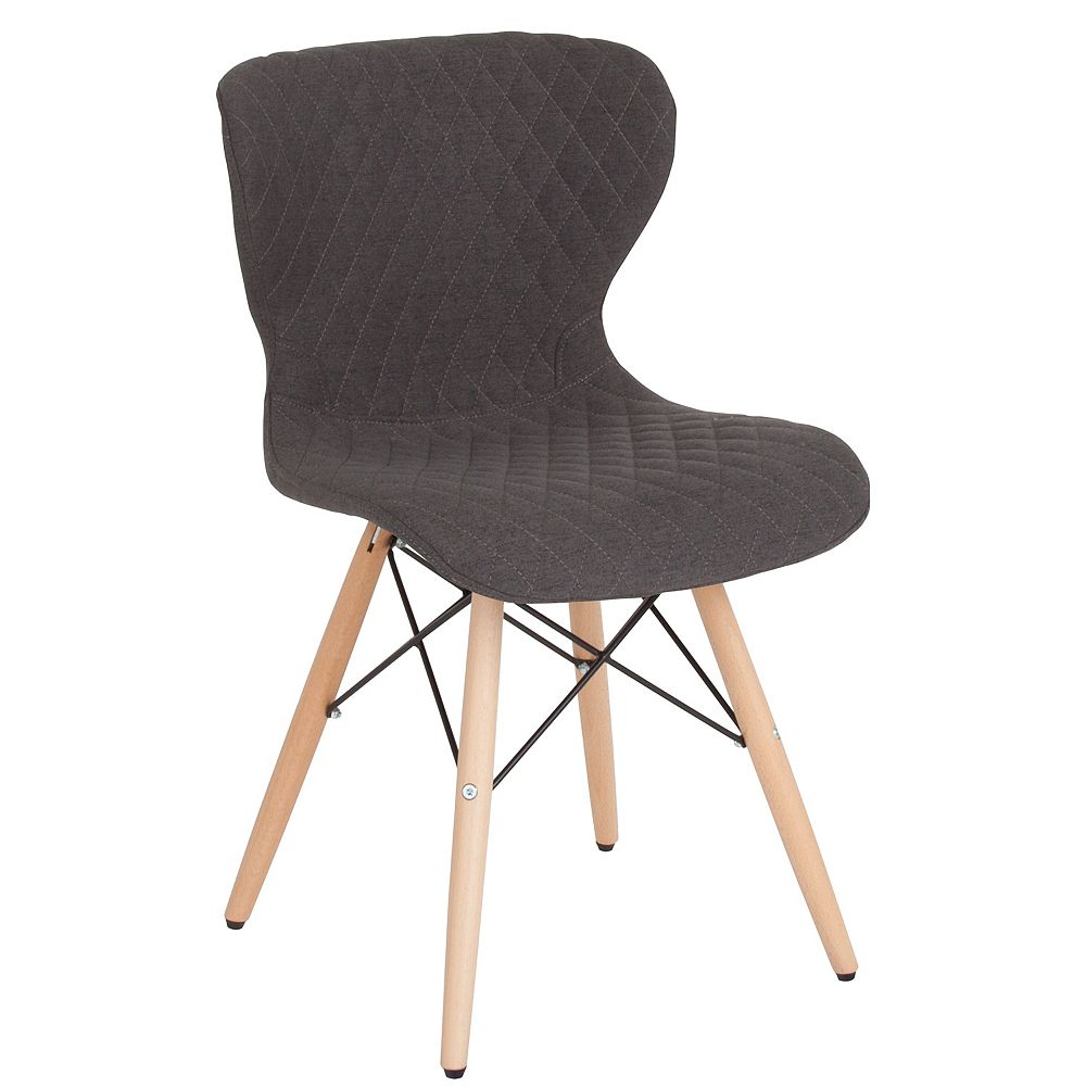 Flash Furniture Riverside Contemporary Upholstered Chair with Wooden Legs in Dark Gray Fabric