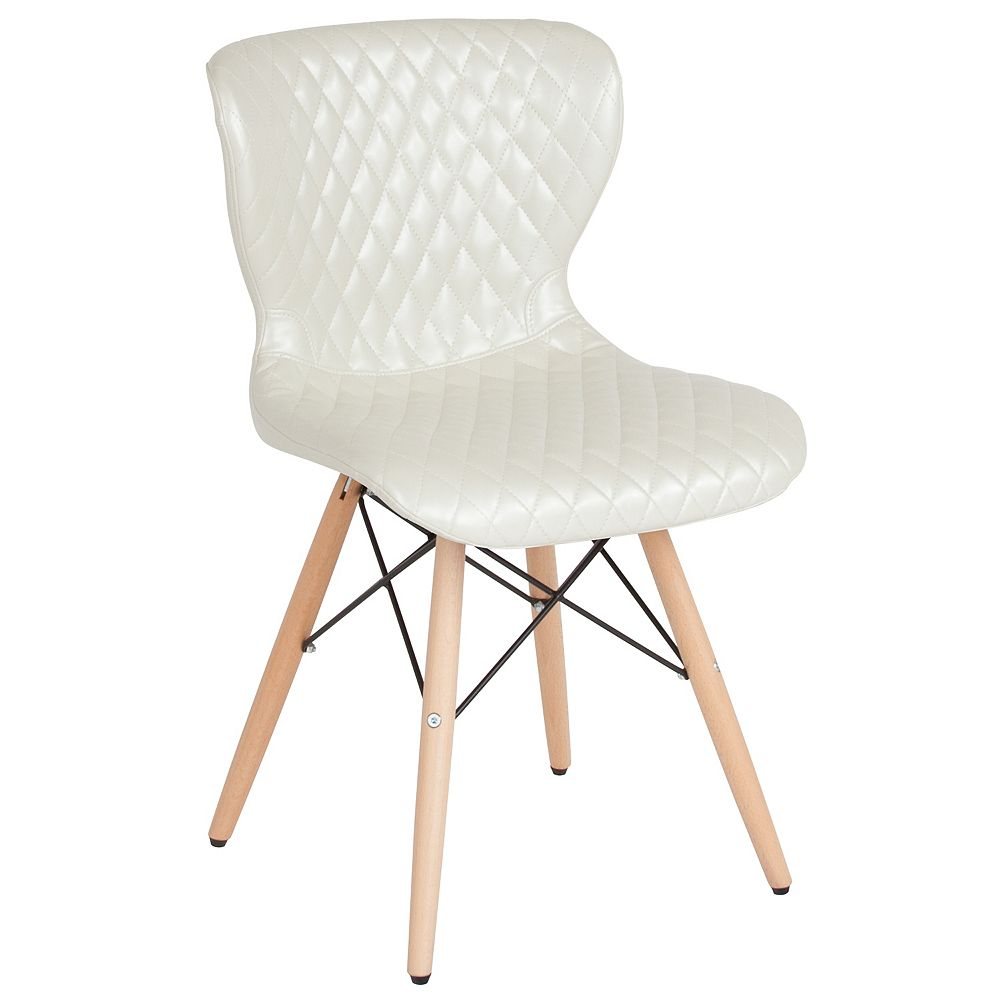 Flash Furniture Riverside Contemporary Upholstered Chair with Wooden Legs in Ivory Vinyl