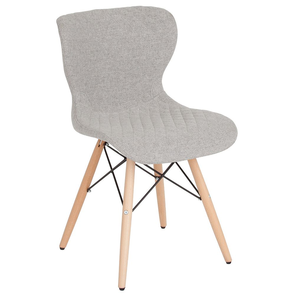 Flash Furniture Riverside Contemporary Upholstered Chair with Wooden Legs in Light Gray Fabric