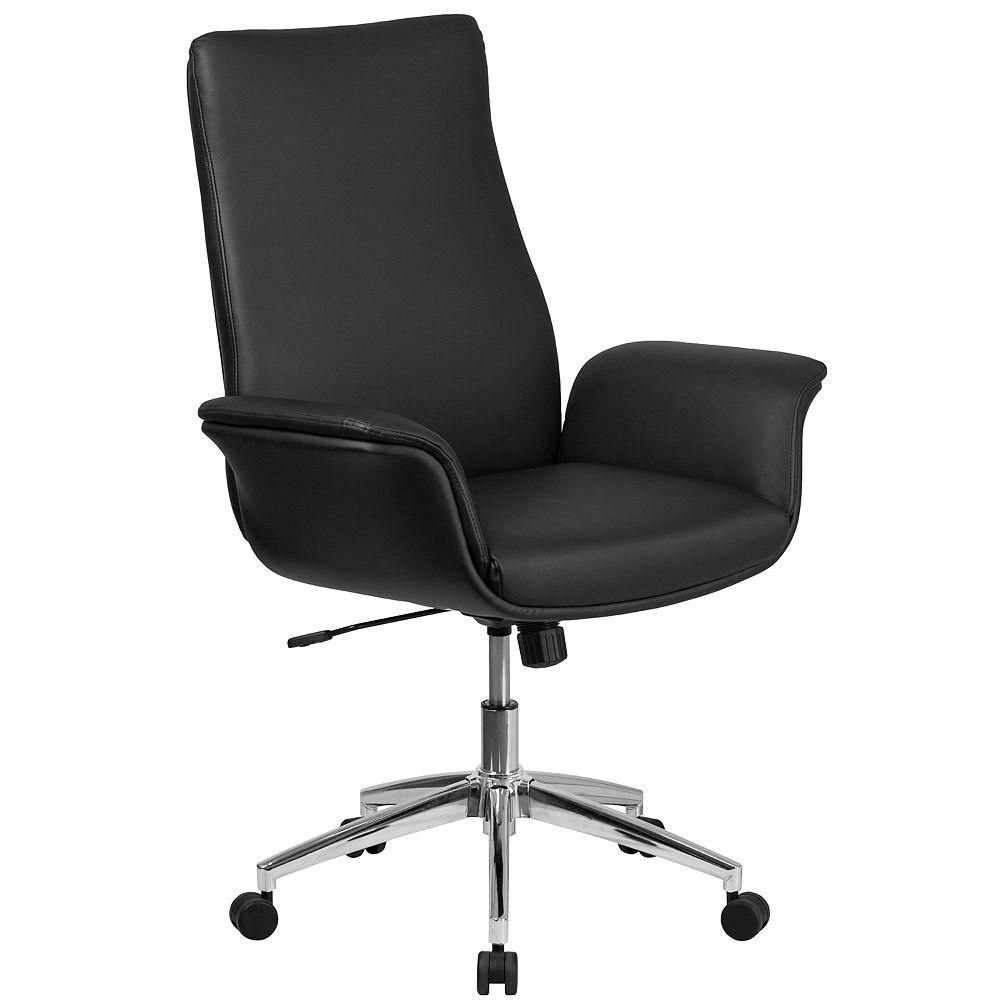 Flash Furniture Chaise de bureau exécutive pivotante en cuir noir à dossier mi-hauteur avec appui-bras évasés