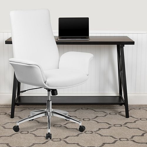 Flash Furniture Mid-Back White Leather Executive Swivel Office Chair with Flared Arms