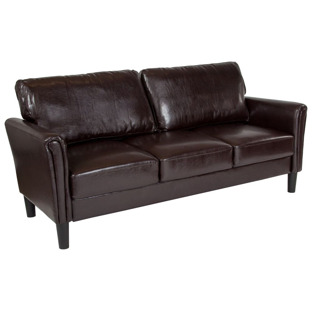 Bari Upholstered Sofa In Brown Leather
