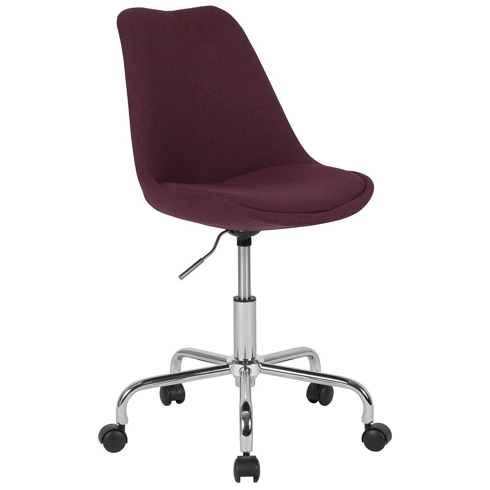 Flash Furniture Aurora Series Mid-Back Purple Fabric Task Office Chair with Pneumatic Lift and Chrome Base