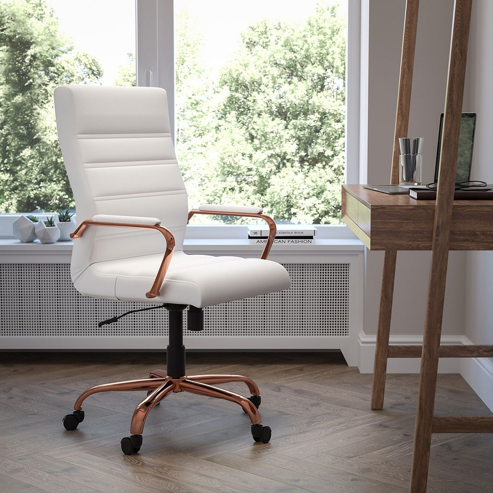Flash Furniture High Back White Leather Executive Swivel Chair with Rose Gold Frame and Arms