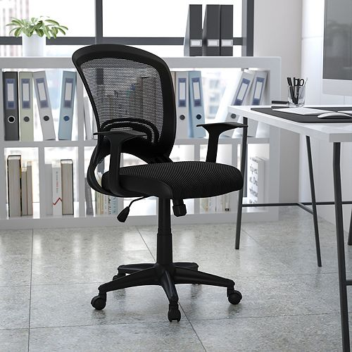 Flash Furniture Mid-Back Designer Black Mesh Swivel Task Chair with Arms