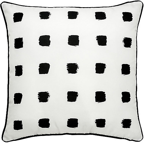 Rockhill Sofa Patio Indoor and Outdoor Pillow in white and Black