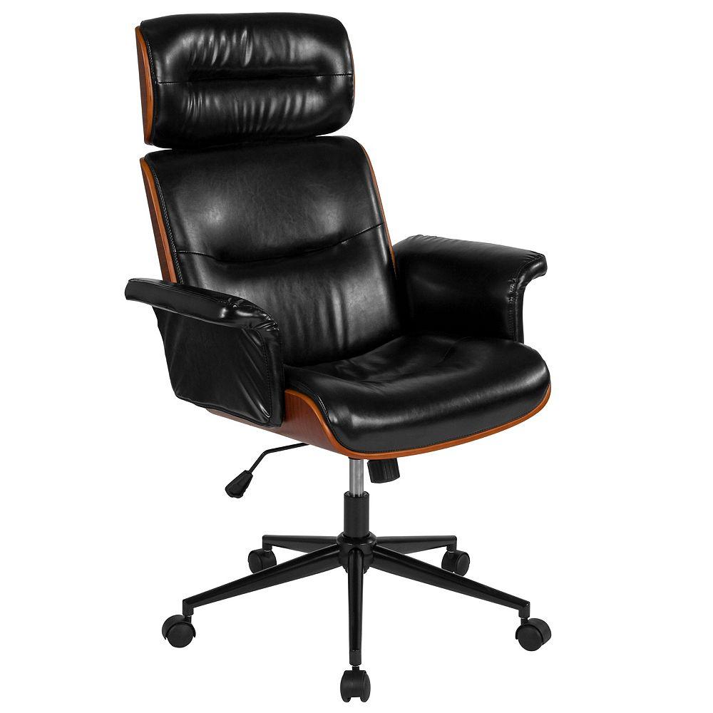 Flash Furniture Contemporary Black Leather High Back Walnut Wood Executive Swivel Ergonomic Office Chair