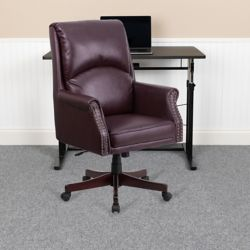 Flash Furniture High Back Pillow Back Burgundy Leather Executive Swivel Office Chair with Arms