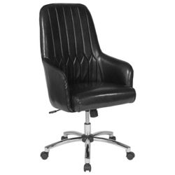 Flash Furniture Albi Home and Office Upholstered High Back Chair in Black Leather
