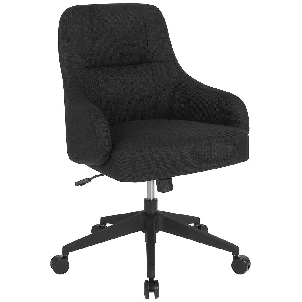 Flash Furniture Dinan Home and Office Upholstered Mid-Back Chair in Black Fabric