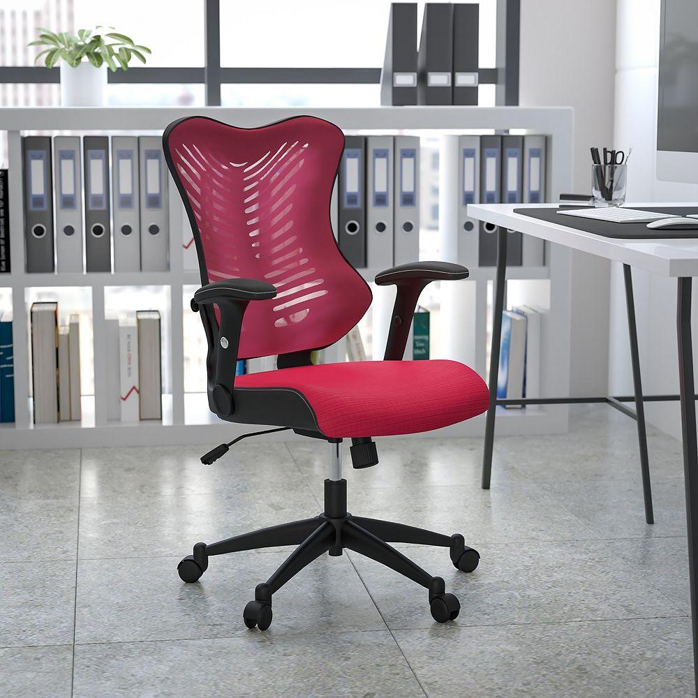 Flash Furniture Chaise bourgogne en maille avec dossier haut